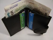 Soft Leather Credit Card Holder with Space for Paper money Button Closer Black