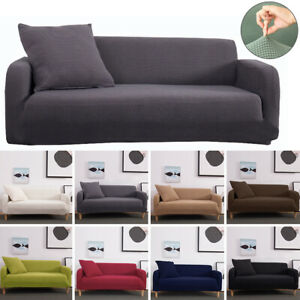 1/2/3/4 Seater High Elastic Sofa Slipcover Stretch Fleece Couch Furniture Covers