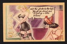 """Comic Postcard girls in undies """"said the girdle to the hat: you go ahead ..."""""""