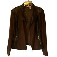 Chicos Womens Jacket Brown Crocodile Embossed Open Front Stretch Pockets Med/8