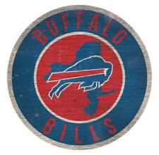 "Buffalo Bills Circle w/ State Football Wood Sign NEW 12"" Round Decoration Gift"