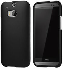 BLACK RUBBERIZED HARD CASE PROTEX COVER FOR HTC ONE M8 PHONE (2014)