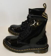 Dr Martens 1460 W Patent Lamper 8 Eye Combat Lace Up Black Women's Boot NEW
