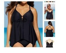 plus size SWIMSUITS FOR ALL keyhole hankie hem swimsuit Tankini Top 24 black a6