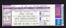 Original 2001 Janet Jackson unbenutzt Konzert Ticket Alles für Sie Tour Sacramento ca