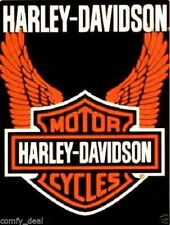 "Harley Davidson Orange Wings Royal Plush Raschel Throw Blanket 76""x94"" Queen"
