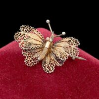 Antique Vintage Deco 925 Sterling Silver Gold Filigree Butterfly Pin Brooch 3.9g