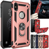 For iPhone X XS Max XR Case Shockproof Hybrid Armor Ring Holder Stand Cover