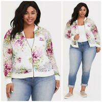 NEW TORRID WHITE & PINK FLORAL PRINT LACE BOMBER JACKET SIZE 2XL ZIP UP BB