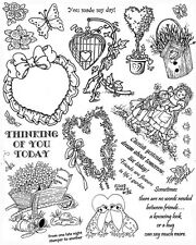 Unmounted Rubber Stamp Sheets, Flowers, Frog, Gardening, Flower, Hearts, Sayings
