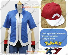 New Pokemon X&Y XY Ash Ketchum Cosplay ONLY JACKET AND HAT