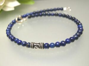 """Vintage nature untreated 4mm Lapis 925 silver bali spacer 9.5"""" - 10.5"""" Anklet"""