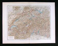 1896 Andrees Map Switzerland Slps Geneva Zurich Lucern Basel Bern Bodensee Lake