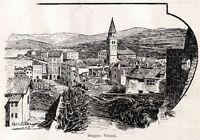 Muggia: Panorama. Trieste. Stampa Antica + Passepartout. 1901