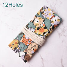 Cat Canvas Bag Holder Wrap Roll up Stationery Pen Brushes Pencil Case Pouch Wo 12 Holes