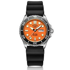 Rotary Super 7 Scuba Diving Auto Orange Dial Silicone Strap Mens Watch S7S002S