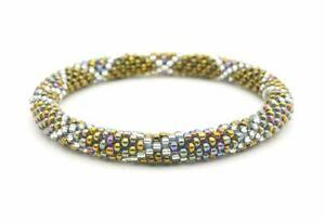 "Sashka Co regular 6-8"" HARVEST MOON Glass Beaded BRACELET iridescent mix bronze"