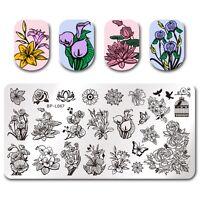 Nagel Kunst Schablone Stempelplatte Stamping Plate Floral Design DIY BPL-67