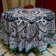 "Handmade 100% Cotton Blooming Floral 81"" Round Tablecloth Green Blue"