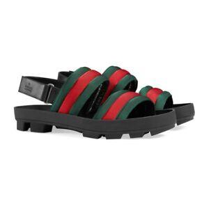 New In Box Gucci 'Sam' Green/Red Web Striped Leather Sandals 7EU/8US $695.00
