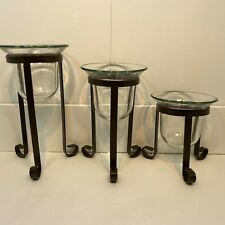 Pillar Candle Holders With Metal Base And Glass Candle Holder Set of 3 Mexico