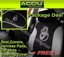 Grey Black Dragon Car Seat Covers+Mats+Steering Wheel Cover+Harness Pads Set +F