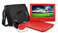 """Ematic 7"""" Inch EPD707 Portable DVD Player w/ Case and Headphones 480 x 234 - Red"""
