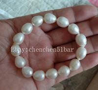 kultivierte 10-12mm weißen Reis Süßwasser Perle elastische Armband 7,5 Zoll