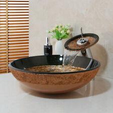 Bathroom Vessel Sink Drain Faucet Basin Vanity Glass Bowl Combo Up Chrome