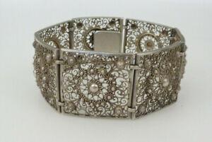 Filigran Armband Herren Damen 835 Silber 29,5g 19cm Alt / Antik / Vintage