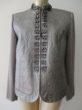 NYGARD COLLECTION METALLIC GRAY LEATHER QUILTED LONG SLEEVE JACKET SIZE PM - NEW