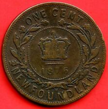 1876 'H' Newfoundland 1 Cent Coin