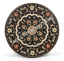 "36"" Marble Black Round Top Dining Table Marquetry Inlay Furniture Decor E507"