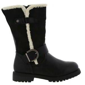 Cipriata Donna Womens Ladies Black Zip Up Mid Calf Biker Boots Size 4-8