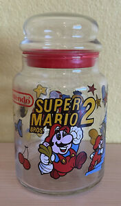 Vintage 1989 Nintendo NES Super Mario Bros. 2 Glass Jar Container Cannister