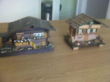 2 x Vintage Reuge Wooden Swiss Chalet Music Boxes, Working, slight damage