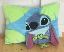 Disney Store Exclusive Lilo & Stitch Holding Frog Blue & Green Stuffed Pillow