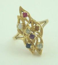 Very Nice 14K Yellow Gold Abstract Multi Gemstone Ring Size 8 B4690