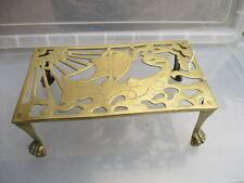 Antique Brass Trivet Cake Iron Planter Stand Holder Vintage Old Viking Ship Claw