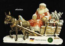 # GLANZBILDER # EF 5129 Bild - Karte /Riesenoblate: Santa mit Schlitten & Esel