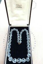 """Boxed antique crystal glass necklace 19"""" jewellery with antique box"""