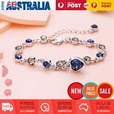 Blue Heart Charms Bracelet Crystal Rhinestone Bangle Bracelet Gift Women Girl