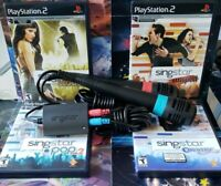 PS2 SingStar: Bundle for Playstation 2, 4 Games Lot-Two Mics & Adapter TESTED