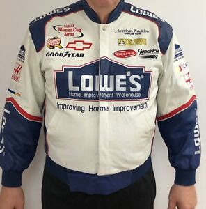NEW NASCAR LEATHER JACKET LOWES JIMMY JOHNSON JEFF HAMILTON COLLECTABLE LARGE