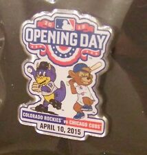 2015 Opening Day Colorado Rockies Dinger vs Chicago Cubs Clark Mascots pin