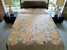 SUN DISCOLORED Vintage Feed Sack Hand Pieced & Quilted WEDDING RING Thin Quilt