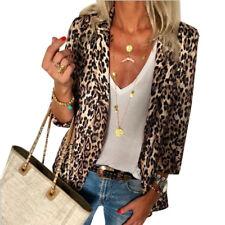 US Women Leopard Print Blazer Sweater Cardigan Jacket Autumn Casual Coat Outwear