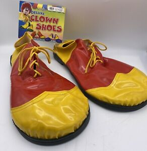 NEW Deluxe Clown Shoes Red & Yellow Halloween Costume Lace Up # 00162875 NWT