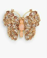 New Talbots Rose Crystal Brilliant Butterfly Brooch Pin