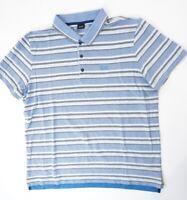 HUGO BOSS Poloshirt Polohemd Herren Gr.3XL blau gestreift Knopf Piquè -S1300